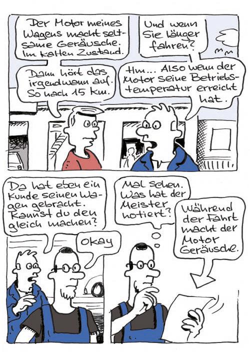 Comic KFZ-Werkstatt Reparatur