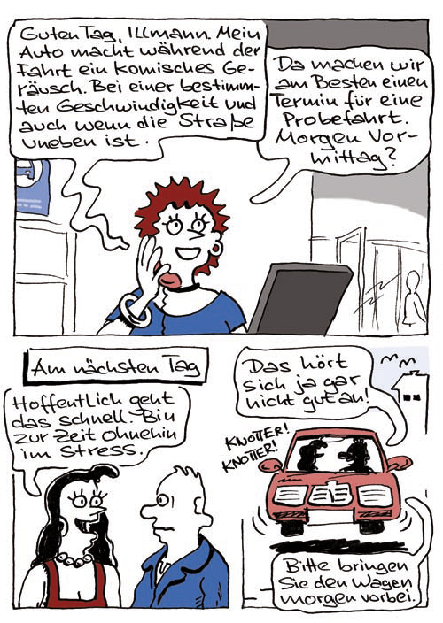 Comic Kundengespräch Fahrzeugannahme