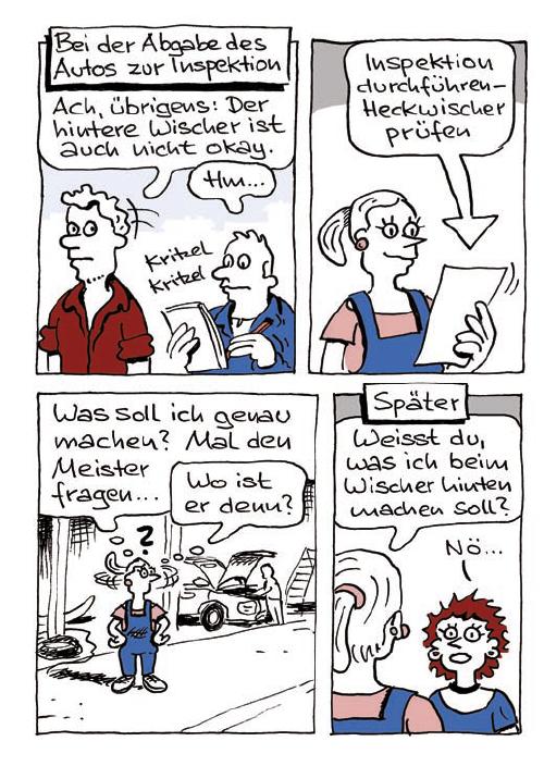 Comic Kundengespräch KFZ-Werkstatt