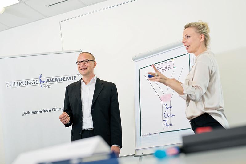 Martin Seydell und Maria Scharrenberg entwickelten für die Führungsakademie Sylt das Strategic Excellence Cluster 16 IP und moderierten es